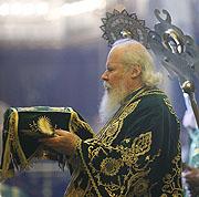 В Вербное воскресенье Святейший Патриарх Алексий совершил Божественную литургию в храме Христа Спасителя