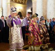 Святейший Патриарх Кирилл совершил Божественную литургию в Спасском Староярмарочном соборе Нижнего Новгорода