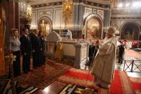 Слово Святейшего Патриарха Алексия Владимиру Путину и Дмитрию Медведеву за Пасхальным богослужением в Храме Христа Спасителя