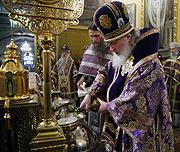 Предстоятель Русской Православной Церкви совершил Чин освящения мира