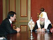 Святейший Патриарх Алексий принял Посла Республики Сербии в России Станимира Вукичевича