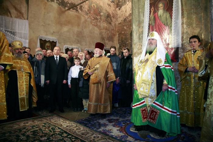 Патриарший визит в Новгородскую епархию. Молебен перед Иверской иконой Божией Матери в Валдайском монастыре.
