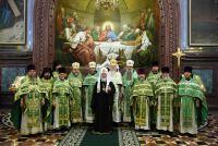 В день праздника Входа Господня в Иерусалим Святейший Патриарх Кирилл совершил Божественную литургию в храме Христа Спасителя