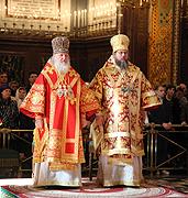 Святейший Патриарх Кирилл и Блаженнейший Митрополит Иона совершили Божественную литургию в Храме Христа Спасителя