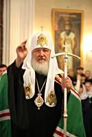 В праздник Вознесения Господня Святейший Патриарх Кирилл возглавил Божественную литургию в Троицком соборе Александро-Невской лавры