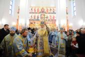 В праздник Введения во храм Пресвятой Богородицы Святейший Патриарх Кирилл совершил чин великого освящения Введенской церкви на Рязанском проспекте и Божественную литургию в новоосвященном храме