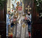 Святейший Патриарх Кирилл совершил Божественную литургию в храме иконы Божией Матери «Нечаянная Радость» в Марьиной Роще