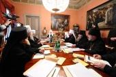 В Патриаршей резиденции в Чистом переулке под председательством Святейшего Патриарха Кирилла открылось очередное заседание Священного Синода
