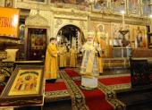 В праздник Собора Пресвятой Богородицы Святейший Патриарх Кирилл совершил Божественную литургию в Успенском соборе Московского Кремля