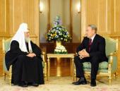 Состоялась встреча Святейшего Патриарха Кирилла с Президентом Республики Казахстан Н.А. Назарбаевым