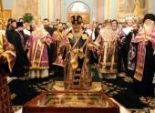 В канун праздника Торжества Православия Святейший Кирилл совершил всенощное бдение в храме б. Заиконоспасского монастыря