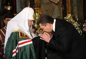 В день инаугурации Президента Украины Святейший Патриарх Кирилл и Блаженнейший митрополит Владимир совершили молебен в Киево-Печерской лавре