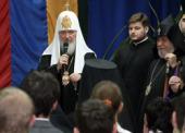 Святейший Патриарх Кирилл и Католикос всех армян Гарегин II посетили школу Министерства обороны России в Ереване