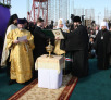 Патриарший визит в Армению. День третий. Закладка храма Воздвижения Честного и Животворящего Креста Господня в Ереване.