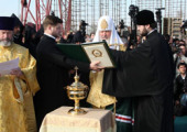 Святейший Патриарх Кирилл совершил чин закладки храма Воздвижения Честного и Животворящего Креста Господня в Ереване
