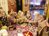 В неделю 5-ю Великого поста и день памяти прп. Марии Египетской Святейший Патриарх Кирилл совершил Литургию св. Василия Великого в Храме Христа Спасителя