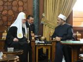 Состоялась встреча Святейшего Патриарха Кирилла с Верховным имамом шейхом университета «Аль-Азхар» Ахмадом Ат-Таибом
