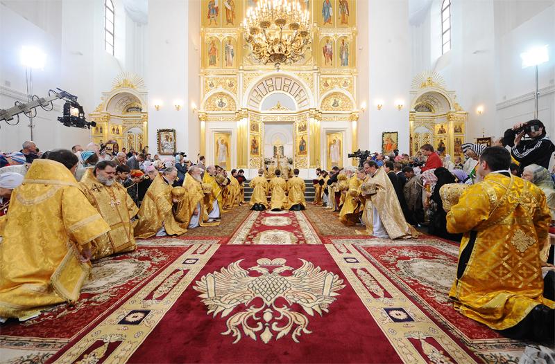 Чин великого освящения и Божественная литургия в Екатерининском соборе Царского Села