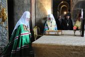 Святейший Патриарх Кирилл и Блаженнейший митрополит Владимир совершили молебен в киевском соборе Святой Софии