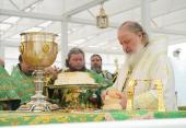 В день памяти прп. Серафима Саровского Святейший Патриарх Кирилл совершил Божественную литургию в Свято-Троицком Серафимо-Дивеевском монастыре