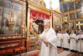 В праздник Преображения Господня Предстоятель Русской Церкви совершил Божественную литургию в Свято-Троицком соборе Псковского кремля