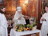 В праздник Преображения Господня митрополит Крутицкий Ювеналий совершил Божественную литургию в Новодевичьем монастыре