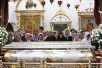 Первосвятительский визит в Псковскую епархию. Божественная литургия в Свято-Троицком соборе Псковского кремля.