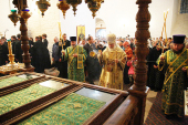 В праздник Собора Соловецких святых Святейший Патриарх Кирилл совершил Божественную литургию в Спасо-Преображенском соборе Соловецкого монастыря