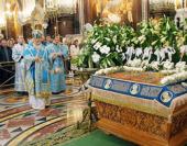 Предстоятель Русской Церкви совершил в Храме Христа Спасителя всенощное бдение с чином Погребения Пресвятой Богородицы
