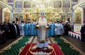 В день празднования в честь Донской иконы Божией Матери Святейший Патриарх Кирилл совершил Божественную литургию в Донском монастыре