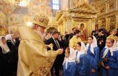 Святейший Патриарх Кирилл совершил утреню в Свято-Введенском Толгском женском монастыре