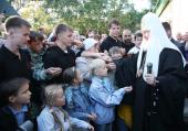 Святейший Патриарх Кирилл посетил Свято-Покровский мужской монастырь в городе Корсакове