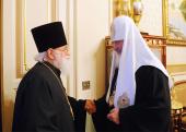 Святейший Патриарх Кирилл принял протопресвитера Матфея Стаднюка, настоятеля Богоявленского кафедрального собора в Елохове