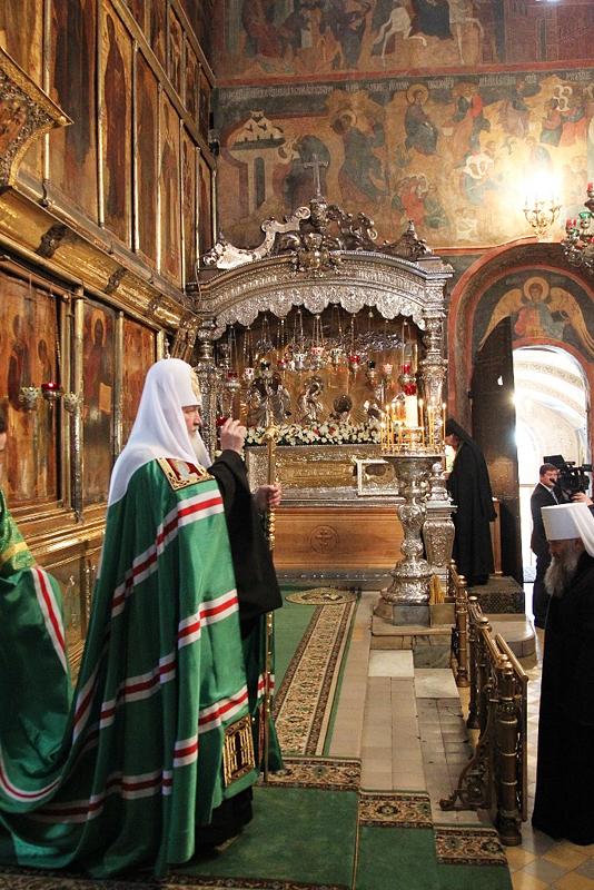 Патриаршее служение в Троице-Сергиевой лавре в канун дня памяти преподобного Сергия Радонежского