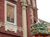 Предстоятель Русской Церкви освятил отреставрированную надвратную икону Николы Можайского на Никольской башне Московского Кремля