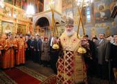 В день Собора Архистратига Михаила Святейший Патриарх Кирилл совершил Божественную литургию в Архангельском соборе Московского Кремля