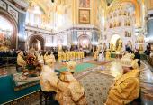В неделю 31-ю по Пятидесятнице, святых праотец, Святейший Патриарх Кирилл возглавил в Храме Христа Спасителя хиротонию архимандрита Никодима (Вулпе) во епископа Единецкого и Бричанского