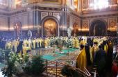 В праздник Рождества Христова Святейший Патриарх Кирилл совершил великую вечерню в Храме Христа Спасителя