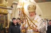 В неделю 33-ю по Пятидесятнице, по Рождестве Христовом, Святейший Патриарх Кирилл совершил Божественную литургию в храме Рождества Христова в Измайлове