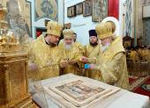 В неделю о Страшном Суде Святейший Патриарх Кирилл совершил великое освящение храма в честь иконы Божией Матери «Утоли моя печали» в Марьине