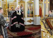 В понедельник первой седмицы Великого поста Святейший Патриарх Кирилл молился за уставным богослужением в Свято-Даниловом монастыре