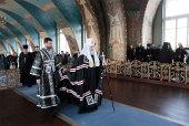 В четверг первой седмицы Великого поста Святейший Патриарх Кирилл молился за уставным богослужением в Богородице-Рождественском cтавропигиальном монастыре