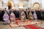 В неделю вторую Великого поста Святейший Патриарх Кирилл совершил Божественную литургию святителя Василия Великого в храме Троицы Живоначальной в Орехово-Борисове