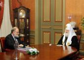 Святейший Патриарх Кирилл принял председателя Центральной избирательной комиссии Российской Федерации В.Е. Чурова