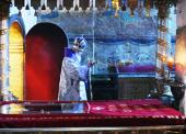 В неделю 3-ю Великого поста, Крестопоклонную, Предстоятель Русской Церкви совершил Божественную литургию святителя Василия Великого в Успенском Патриаршем соборе Кремля