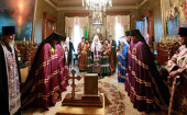 Предстоятель Русской Церкви возглавил чин наречения архимандрита Зиновия (Корзинкина) во епископа Элистинского и Калмыцкого