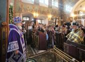 В пятницу 4-й седмицы Великого поста Предстоятель Русской Церкви совершил Литургию Преждеосвященных Даров в Спасо-Преображенском храме на Болвановке