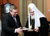 Святейший Патриарх Кирилл встретился с губернатором Ростовской области В.Ю. Голубевым