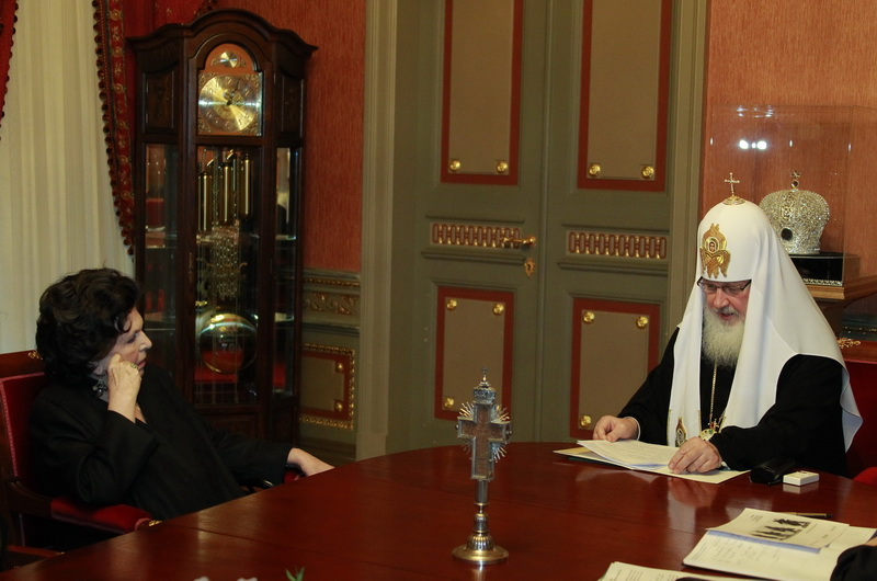 Встреча Святейшего Патриарха Кирилла с народной артисткой СССР Г.П. Вишневской