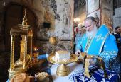 В праздник Благовещения Пресвятой Богородицы Предстоятель Русской Церкви совершил Божественную литургию в Благовещенском соборе Кремля